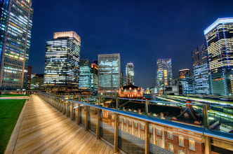 Photo: A view of Tokyo Station and the surrounding area from the Kitte Building
