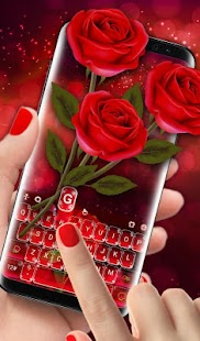 Romantic Flower Red Rose Sparkling Keyboard Theme Screenshot
