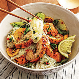 Fiery Thai Noodle Bowl with Crispy Chicken Thighs.