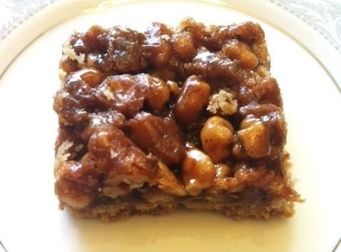Remove from oven and cool. Cut in to squares. Serve alone,or with ice cream...