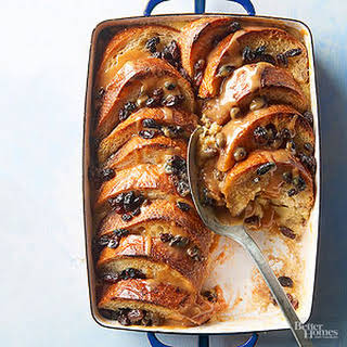 Bread & Butter Pudding with Salted Caramel Whiskey Butter Sauce.