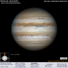 "Photo: Getting closer to opposition and I finally get some decent conditions for Jupiter.  Only snag was that my filter wheel died.  It was 9 years old and I guess I need a new one now.  I'm thinking of the Xagyl 5 slot 1.25"" one."
