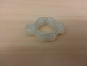 Photo: Print of a Dremel 3/4-12 attachment collar (http://www.thingiverse.com/thing:25062) in clear matterhackers PLA. Testing to see if it makes amechanicallyusable part.