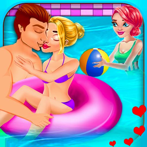 Adorable Couple Pool Kiss