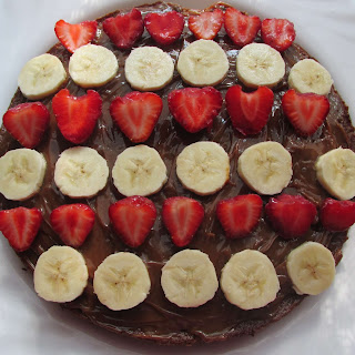 Chocolate Cake with Strawberries and Banana.