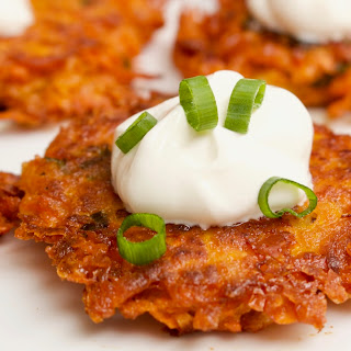 Cheesy Sweet Potato Latkes.