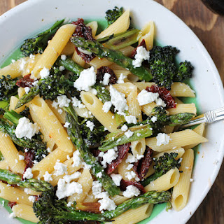 Penne with Roasted Asparagus, Broccolini, and Goat Cheese.