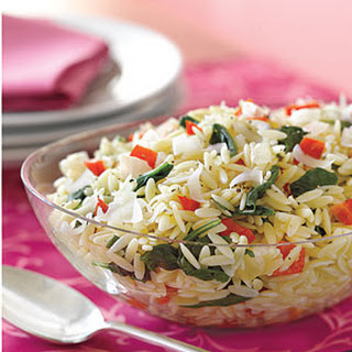 Orzo with Spinach and Red Peppers