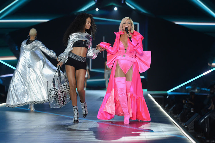 Iesha Hodges walks the runway as Bebe Rexha performs during the 2018 Victoria's Secret Fashion Show on November 8 in New York City.