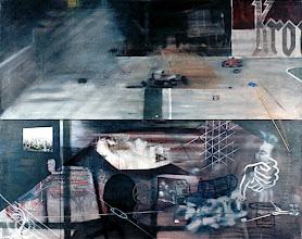 Photo: GENDANKEN EXPERIMENT 1998 52 x 66 in oil, holographic pigment and rope on canvas