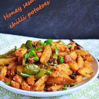 Sesame honey chilli potatoes recipe | Easy indo chinese recipes