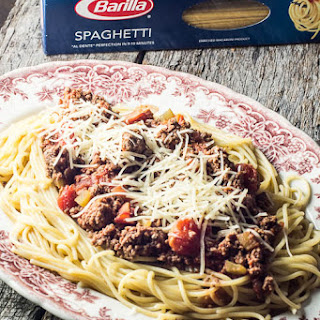 Barilla® Spaghetti with {Crock Pot} San Marzano Tomato Meat Sauce