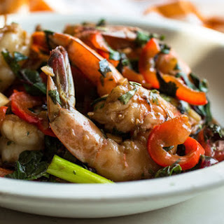 Stir-Fried Shrimp With Spicy Greens