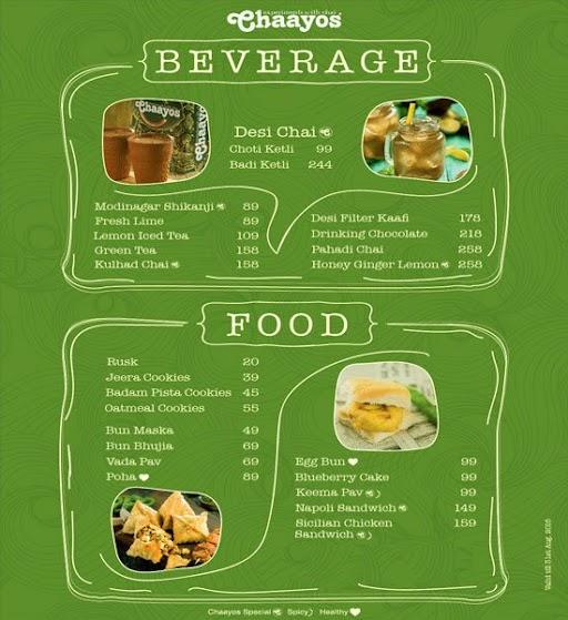 Chaayos menu 1