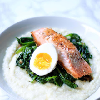 Salmon and Grits with Garlicky Greens & Boiled Eggs.