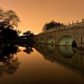 Stone Bridge at Dusk by Chester Chen - Buildings & Architecture Bridges & Suspended Structures ( stone, bridge, dusk )