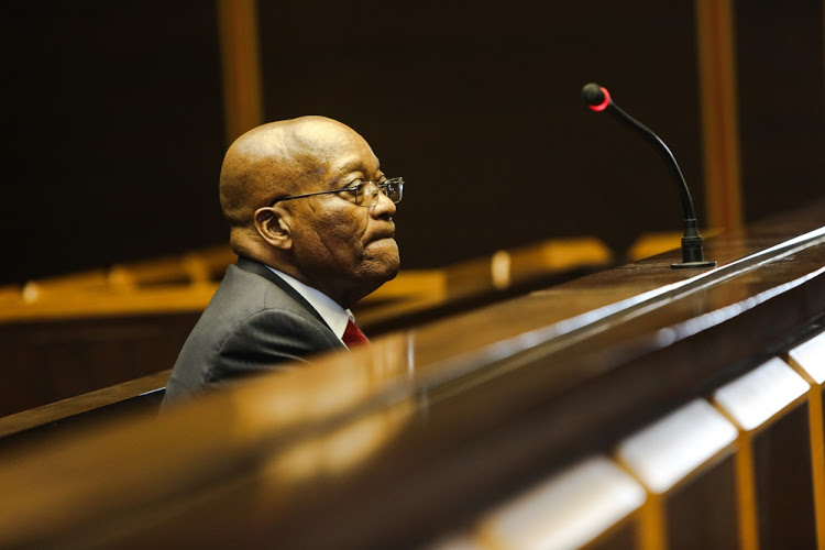 Former president Jacob Zuma in the Pietermaritzburg High Court for his third appearance on charges of fraud and corruption on July 27, 2018. Image: Jackie Clausen/ Pool