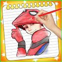 spider boy coloring hero icon