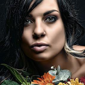 Flowers2 by Gerrit Toit - People Portraits of Women ( contrast, beauty, flowers, skin, eyes )