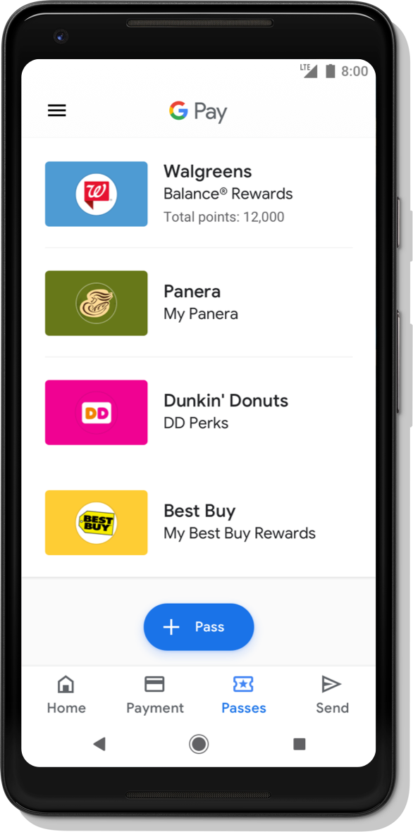 'Google Pay App Sample Interface 1: Google Pay American Express credit card Pay now with Amex Accepted here Whole Foods Walgreens Kroger 7 eleven Safeway Gap Starbucks BestBuy See more Home Cards'