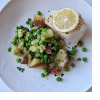 Halibut with New Potato and Sweet Pea Mash