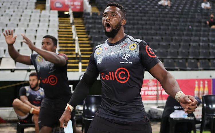 Siya Kolisi of the Sharks during the SA Rugby Preparation Series match against the Bulls at Kings Park on March 26 2021 in Durban.