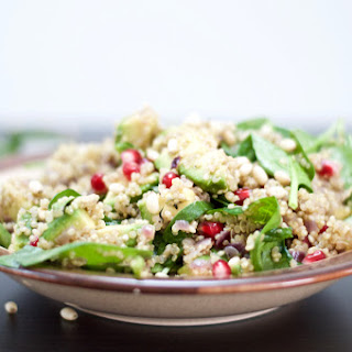 Warm Quinoa, Spinach & Pomegranate Salad