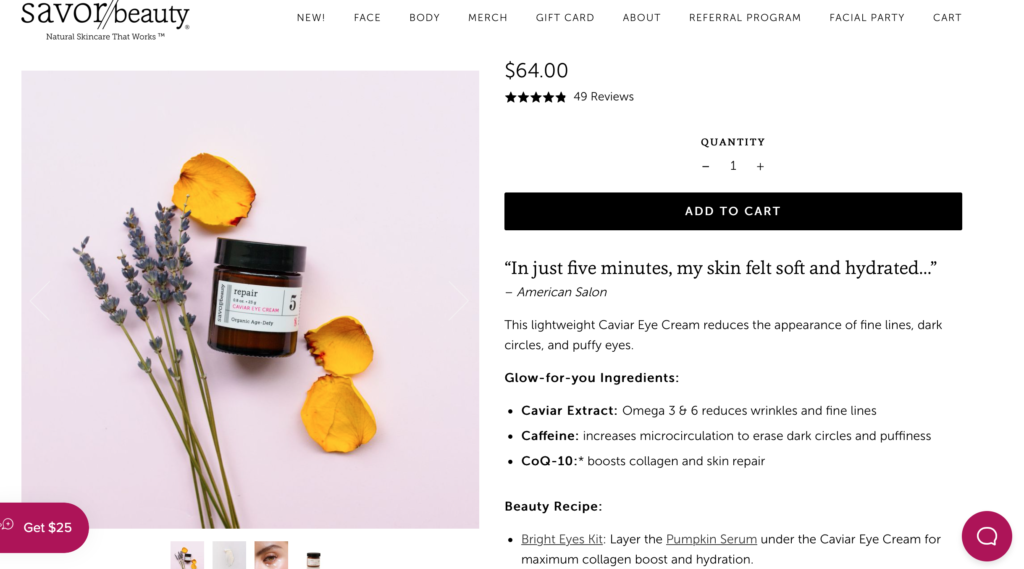 Facebook ad landing page example Savor Beauty