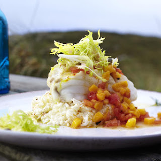 Cod with Creamy Spicy Rice and Mango Salsa