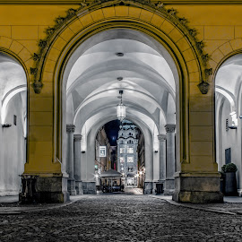 Old City in the Night by Anatoliy Kosterev - City,  Street & Park  Historic Districts ( lights, arch, night, historic district, city )