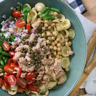 Chickpea, Tuna & Caper Orecchiette Pasta Salad.