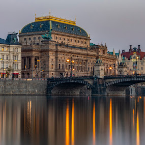 Prague by Santanu Majumder - City,  Street & Park  Skylines ( city, prague, vltava, twilight, water )