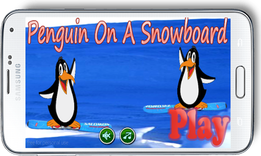 Penguin On A Snowboard