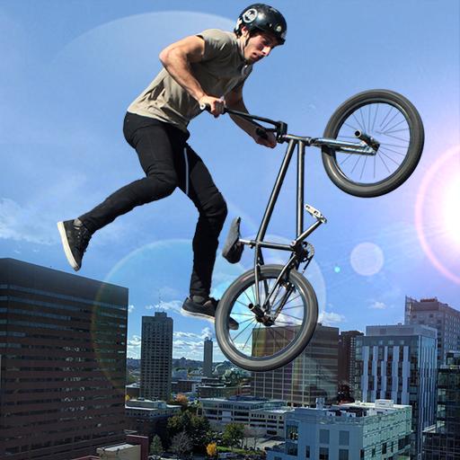 Rooftop Stunt Man Bike Rider