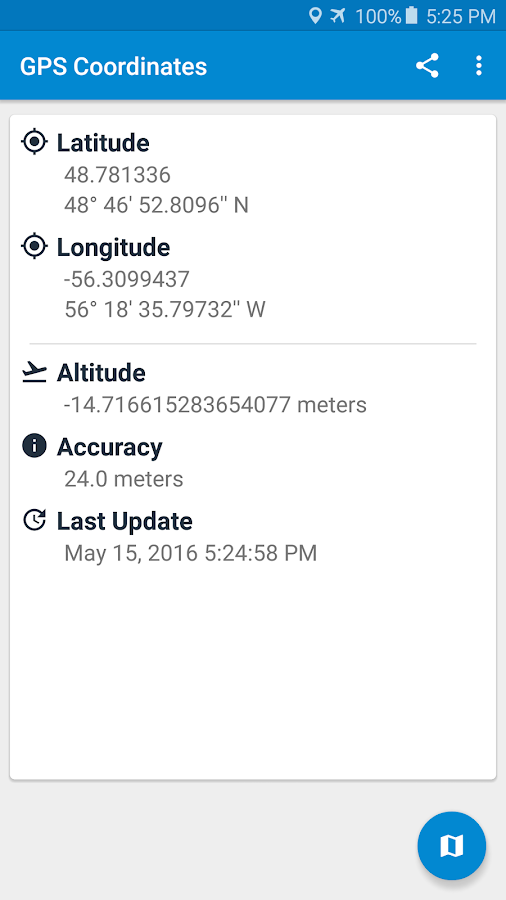 GPS Coordinates- screenshot