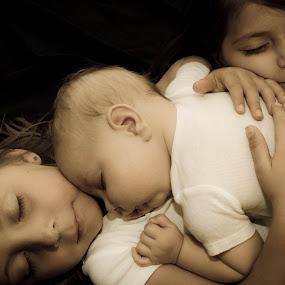 Sleeping Family by Jess Anderson - Babies & Children Children Candids ( sisters, cuddling, children, baby, sleeping )