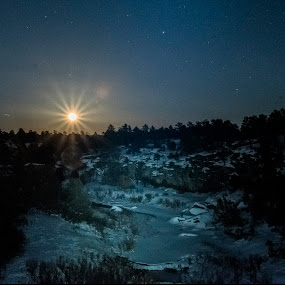 Moonrise over Castlewood Canyon by Sean Markus - Landscapes Starscapes ( castle rock, snow, snow covered, colorado, castlewood canyon, moon rise, night shot,  )