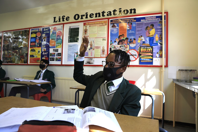 Pupils at Greenside High School, a public high school in Johannesburg. Matric exams have been delayed because of the Covid-19 pandemic.