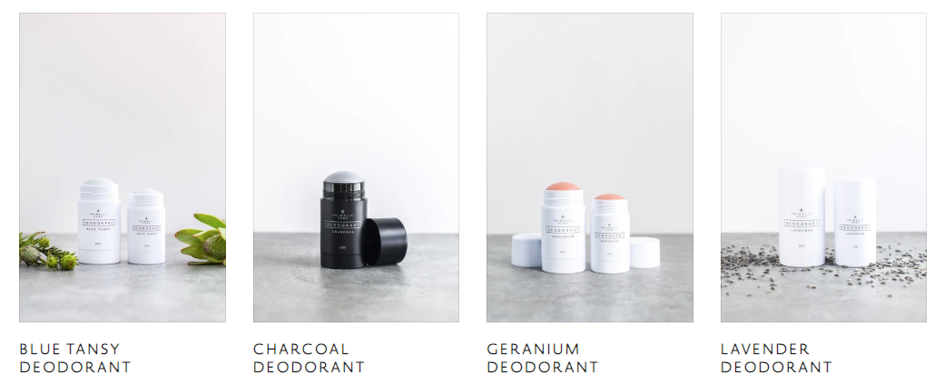 product shots of four different scents of deodorant from Primally Pure