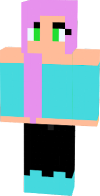 pink hair with teal shoes and a teal sirt also has green eyes with black pants