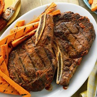 Spicy Ribeyes with Ginger-Orange Grilled Carrots.