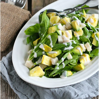 Jicama & Pineapple Spinach Salad with Sriracha Buttermilk Dressing