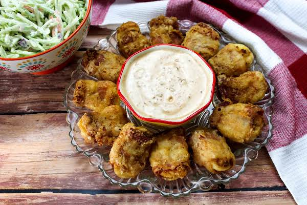 Deep Fried Deviled Eggs With Chipotle Ranch Dressing.