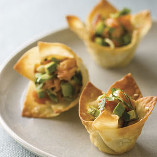 Won Ton Cups with Hot-Smoked Salmon and Avocado.