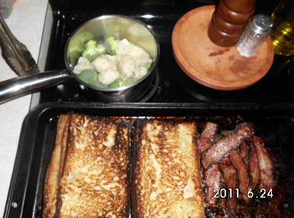 Cook your bacon.  Saute broccoli and califlower in butter & blk pepper till...