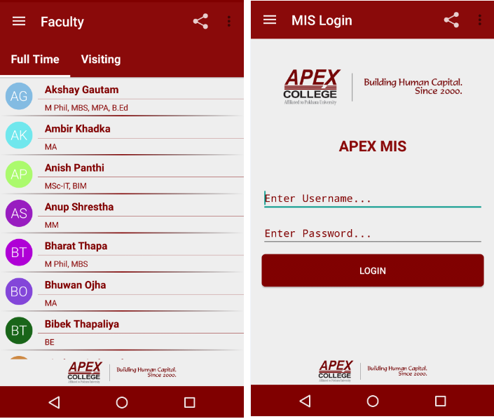 Apex College- screenshot