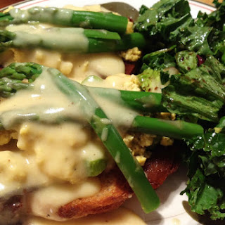 Asparagus Tofu Tartines With Light Hollandaise Sauce [Vegan].