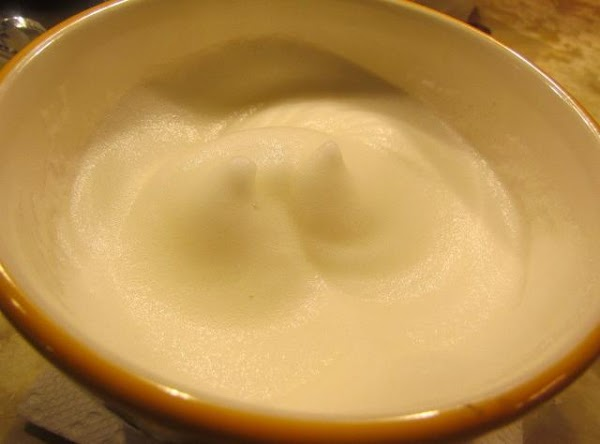Whip up your egg whites until frothy adding a pinch of salt.