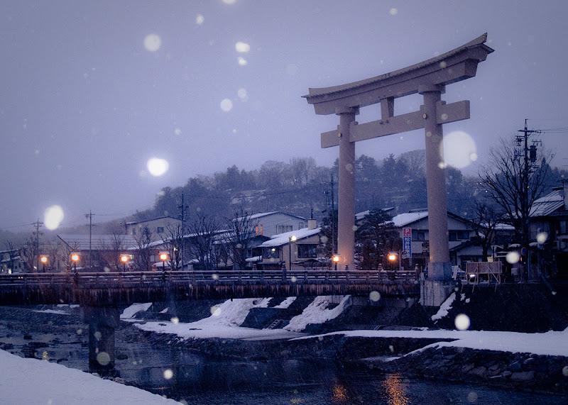 Photo: Snowfall at Dusk in Takayama, Japan
