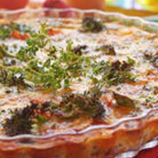 Quiche mit Linsen, Broccoli und Tomaten